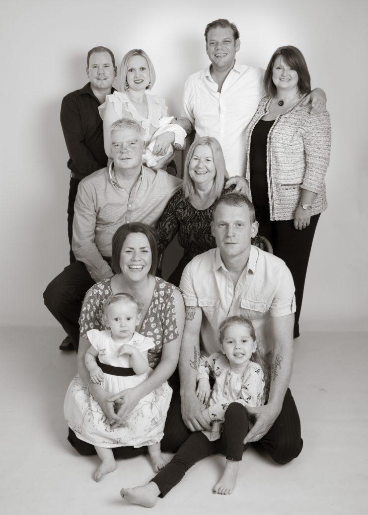 Family portrtait photograph in B&W