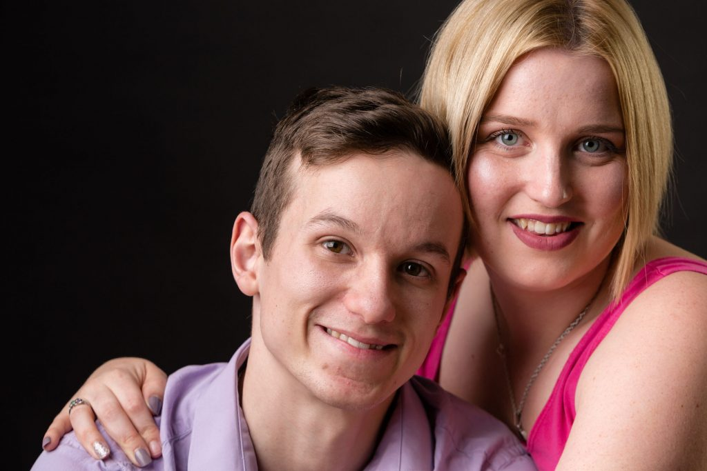 Couples portrait of male and female taken at Immortaleye Photography's Aylesbury studio